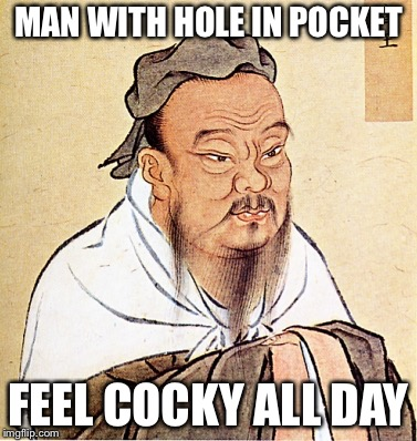 wise confusius | MAN WITH HOLE IN POCKET FEEL COCKY ALL DAY | image tagged in wise confusius | made w/ Imgflip meme maker
