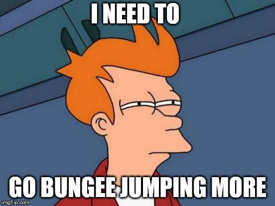 Futurama Fry Meme | I NEED TO GO BUNGEE JUMPING MORE | image tagged in memes,futurama fry | made w/ Imgflip meme maker