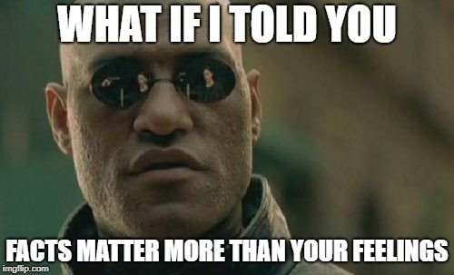 Matrix Morpheus | WHAT IF I TOLD YOU FACTS MATTER MORE THAN YOUR FEELINGS | image tagged in memes,matrix morpheus | made w/ Imgflip meme maker