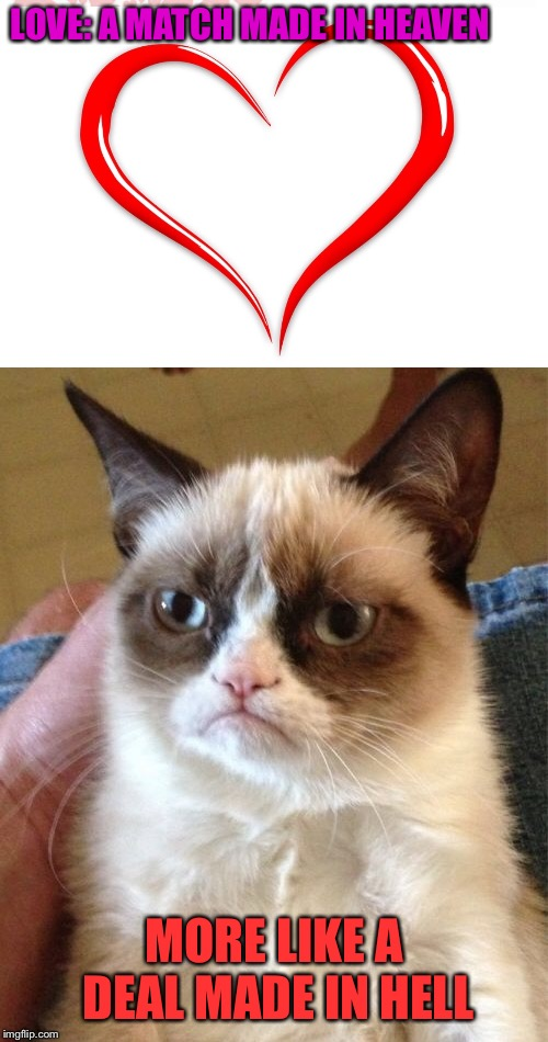 Grumpy cat's ideology of love. (By Her0) | LOVE: A MATCH MADE IN HEAVEN MORE LIKE A DEAL MADE IN HELL | image tagged in memes,grumpy cat,love,marriage | made w/ Imgflip meme maker