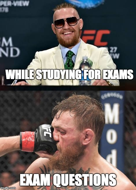 Exams | WHILE STUDYING FOR EXAMS EXAM QUESTIONS | image tagged in eduction,conor,conor mcgregor,exams,studying | made w/ Imgflip meme maker
