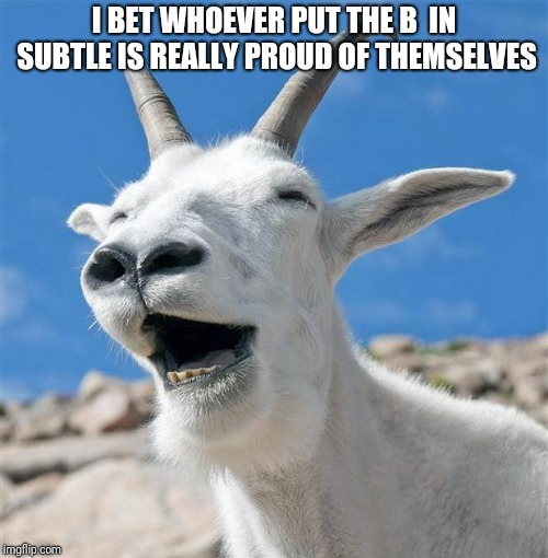 Laughing Goat |  I BET WHOEVER PUT THE B  IN SUBTLE IS REALLY PROUD OF THEMSELVES | image tagged in memes,laughing goat | made w/ Imgflip meme maker