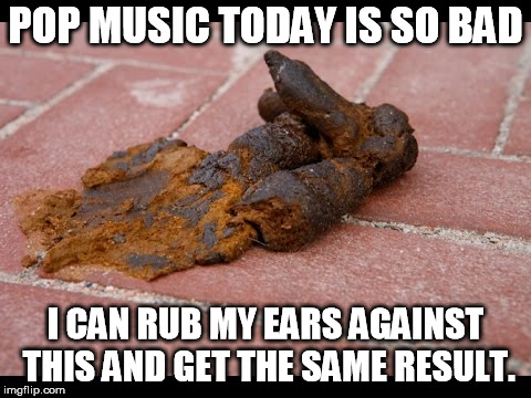 Dog Shit |  POP MUSIC TODAY IS SO BAD; I CAN RUB MY EARS AGAINST THIS AND GET THE SAME RESULT. | image tagged in dog shit,shit,pop music,music | made w/ Imgflip meme maker