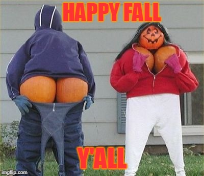 YAY FOR OCTOBER!! |  HAPPY FALL; Y'ALL | image tagged in meme,autumn fall,bad yard art,pumpkins | made w/ Imgflip meme maker
