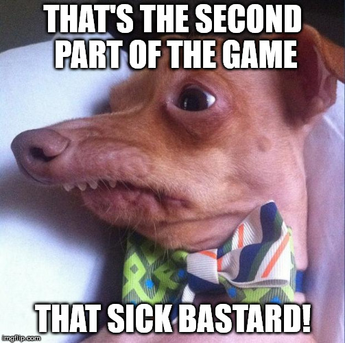 Tuna the dog (Phteven) | THAT'S THE SECOND PART OF THE GAME THAT SICK BASTARD! | image tagged in tuna the dog phteven | made w/ Imgflip meme maker