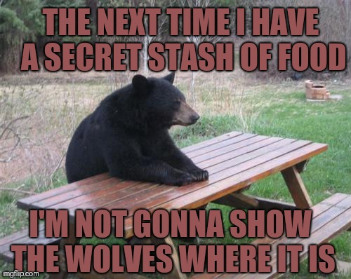 Bad Luck Bear | THE NEXT TIME I HAVE A SECRET STASH OF FOOD I'M NOT GONNA SHOW THE WOLVES WHERE IT IS | image tagged in memes,bad luck bear,funny,animals | made w/ Imgflip meme maker