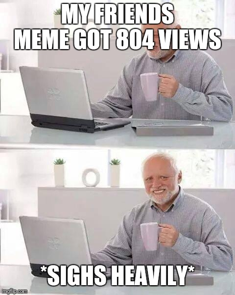 Hide the Pain Harold Meme | MY FRIENDS MEME GOT 804 VIEWS *SIGHS HEAVILY* | image tagged in memes,hide the pain harold | made w/ Imgflip meme maker