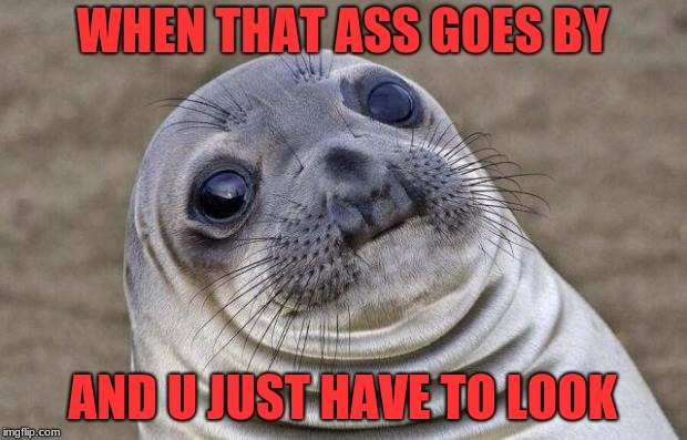 Awkward Moment Sealion Meme | WHEN THAT ASS GOES BY AND U JUST HAVE TO LOOK | image tagged in memes,awkward moment sealion | made w/ Imgflip meme maker