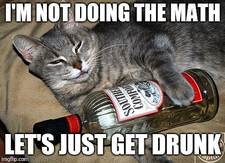 cat and liquor | I'M NOT DOING THE MATH LET'S JUST GET DRUNK | image tagged in cat and liquor | made w/ Imgflip meme maker