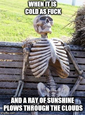 Waiting Skeleton Meme | WHEN IT IS COLD AS F**K AND A RAY OF SUNSHINE PLOWS THROUGH THE CLOUDS | image tagged in memes,waiting skeleton | made w/ Imgflip meme maker