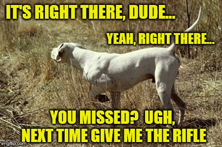 IT'S RIGHT THERE, DUDE... YOU MISSED?  UGH, NEXT TIME GIVE ME THE RIFLE YEAH, RIGHT THERE... | made w/ Imgflip meme maker