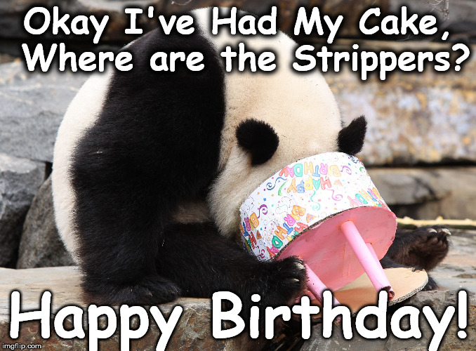 Okay I've Had My Cake, Where are the Strippers? Happy Birthday! | image tagged in birth | made w/ Imgflip meme maker