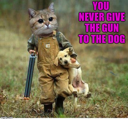 YOU NEVER GIVE THE GUN TO THE DOG | made w/ Imgflip meme maker