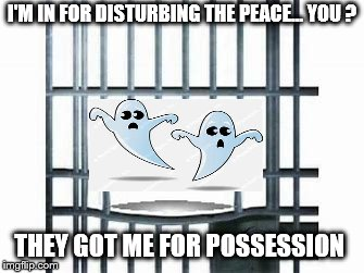 I'M IN FOR DISTURBING THE PEACE... YOU ? THEY GOT ME FOR POSSESSION | image tagged in halloween | made w/ Imgflip meme maker
