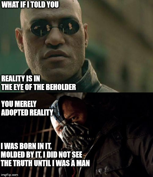 vel ignorantia sapientiae | WHAT IF I TOLD YOU REALITY IS IN THE EYE OF THE BEHOLDER YOU MERELY ADOPTED REALITY I WAS BORN IN IT, MOLDED BY IT, I DID NOT SEE THE TRUTH  | image tagged in memes,philosophy | made w/ Imgflip meme maker