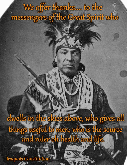 Iroquois Constitution | We offer thanks.... to the Iroquois Constitution messengers of the Great Spirit who dwells in the skies above, who gives all things useful t | image tagged in native american,native americans,indians,indian chief,indian chiefs,tribe | made w/ Imgflip meme maker