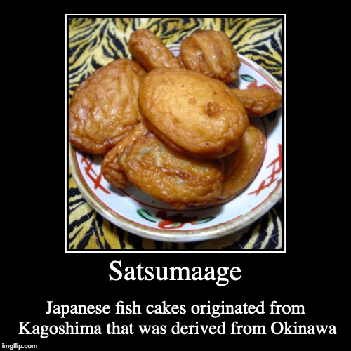 Satsumaage | Satsumaage | Japanese fish cakes originated from Kagoshima that was derived from Okinawa | image tagged in demotivationals,satsumaage,japan,fish cake | made w/ Imgflip demotivational maker
