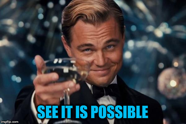 Leonardo Dicaprio Cheers Meme | SEE IT IS POSSIBLE | image tagged in memes,leonardo dicaprio cheers | made w/ Imgflip meme maker