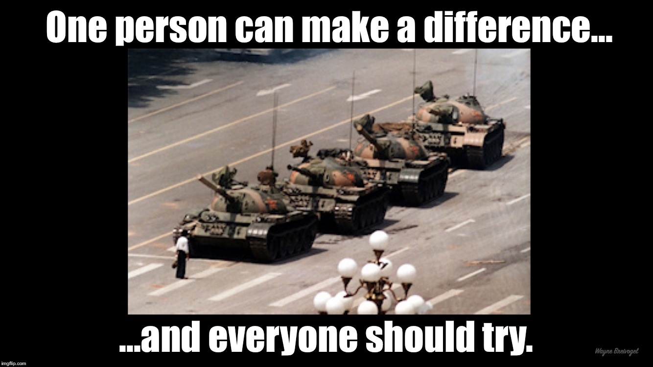 One person can make a difference, and everyone should try  | One person can make a difference... ...and everyone should try. Wayne Breivogel | image tagged in tienneman square,tank man,the hero gets stung | made w/ Imgflip meme maker
