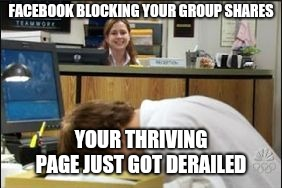 Facedesk, When a face palm just isn't enough | FACEBOOK BLOCKING YOUR GROUP SHARES YOUR THRIVING PAGE JUST GOT DERAILED | image tagged in facedesk when a face palm just isn't enough | made w/ Imgflip meme maker