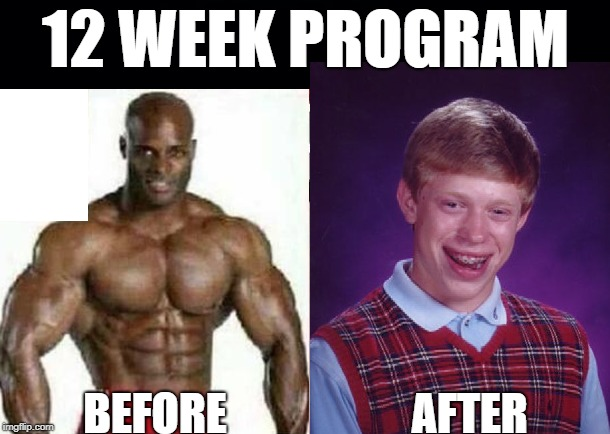 12 WEEK PROGRAM BEFORE                     AFTER | made w/ Imgflip meme maker