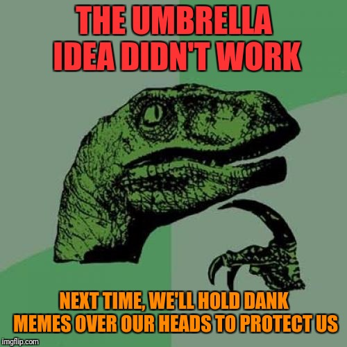 Philosoraptor Meme | THE UMBRELLA IDEA DIDN'T WORK NEXT TIME, WE'LL HOLD DANK MEMES OVER OUR HEADS TO PROTECT US | image tagged in memes,philosoraptor | made w/ Imgflip meme maker