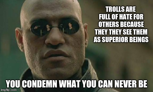 meme trolls  | TROLLS ARE FULL OF HATE FOR OTHERS BECAUSE THEY THEY SEE THEM AS SUPERIOR BEINGS YOU CONDEMN WHAT YOU CAN NEVER BE | image tagged in memes,matrix morpheus,imgflip trolls | made w/ Imgflip meme maker