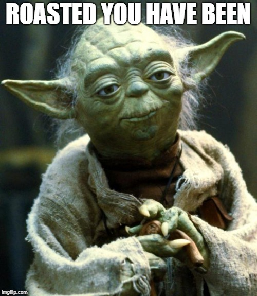 Star Wars Yoda Meme | ROASTED YOU HAVE BEEN | image tagged in memes,star wars yoda | made w/ Imgflip meme maker
