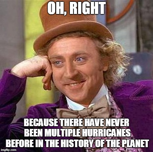 Creepy Condescending Wonka Meme | OH, RIGHT BECAUSE THERE HAVE NEVER BEEN MULTIPLE HURRICANES BEFORE IN THE HISTORY OF THE PLANET | image tagged in memes,creepy condescending wonka | made w/ Imgflip meme maker