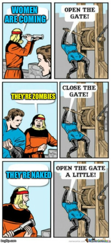 Open the gate a little | WOMEN ARE COMING THEY'RE ZOMBIES THEY'RE NAKED | image tagged in open the gate a little,memes | made w/ Imgflip meme maker
