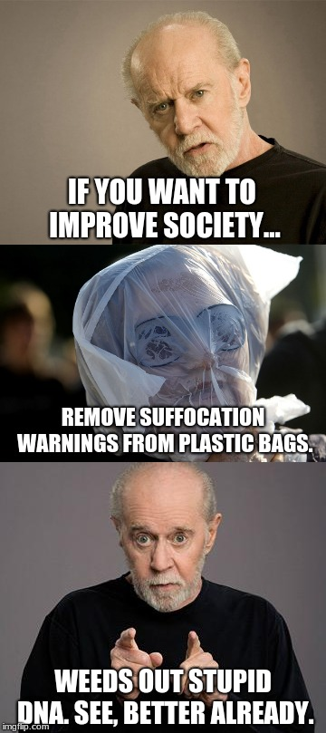 If you want to make a cake... | IF YOU WANT TO IMPROVE SOCIETY... WEEDS OUT STUPID DNA. SEE, BETTER ALREADY. REMOVE SUFFOCATION WARNINGS FROM PLASTIC BAGS. | image tagged in memes,george carlin,suggestion box,plastic bag challenge,genetics,sarcasm | made w/ Imgflip meme maker
