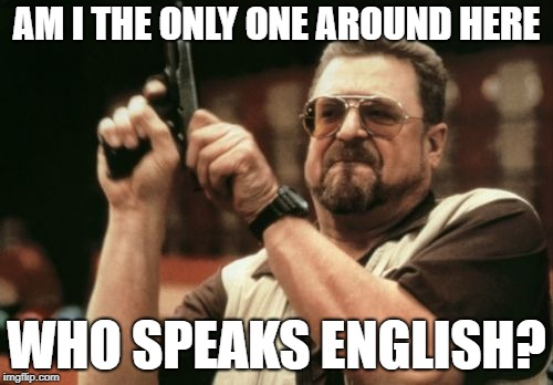 Am I The Only One Around Here Meme | AM I THE ONLY ONE AROUND HERE WHO SPEAKS ENGLISH? | image tagged in memes,am i the only one around here | made w/ Imgflip meme maker