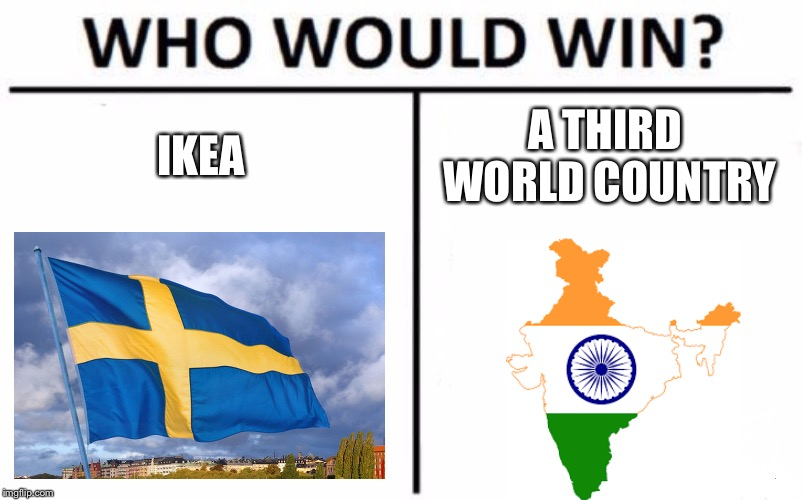 Who Would Win? Meme | IKEA A THIRD WORLD COUNTRY | image tagged in memes,who would win | made w/ Imgflip meme maker