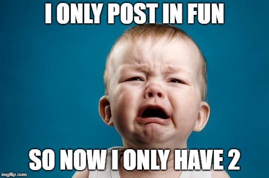 BABY CRYING | I ONLY POST IN FUN SO NOW I ONLY HAVE 2 | image tagged in baby crying | made w/ Imgflip meme maker