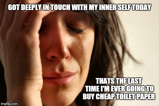 First World Problems | GOT DEEPLY IN TOUCH WITH MY INNER SELF TODAY THATS THE LAST TIME I'M EVER GOING TO BUY CHEAP TOILET PAPER | image tagged in memes,first world problems,cheap,toilet humor,funny,zen | made w/ Imgflip meme maker