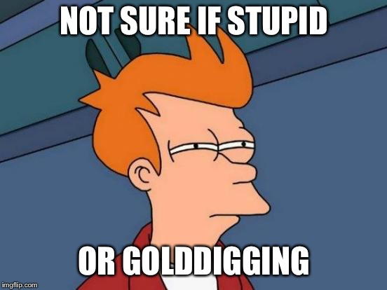 Futurama Fry Meme | NOT SURE IF STUPID OR GOLDDIGGING | image tagged in memes,futurama fry,AdviceAnimals | made w/ Imgflip meme maker