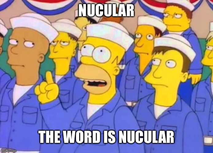 homer-nuclear | NUCULAR THE WORD IS NUCULAR | image tagged in homer-nuclear | made w/ Imgflip meme maker