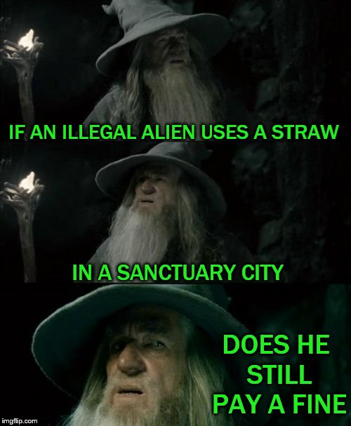 things that make you go hmmmmm | IF AN ILLEGAL ALIEN USES A STRAW IN A SANCTUARY CITY DOES HE STILL PAY A FINE | image tagged in memes,confused gandalf,illegal,aliens,straws,ultimate paradox | made w/ Imgflip meme maker