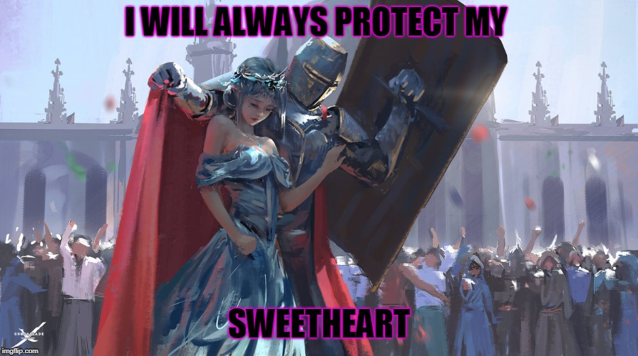 Knight Protecting Princess | I WILL ALWAYS PROTECT MY SWEETHEART | image tagged in knight protecting princess | made w/ Imgflip meme maker