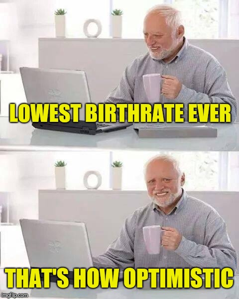 Hide the Pain Harold Meme | LOWEST BIRTHRATE EVER THAT'S HOW OPTIMISTIC | image tagged in memes,hide the pain harold | made w/ Imgflip meme maker