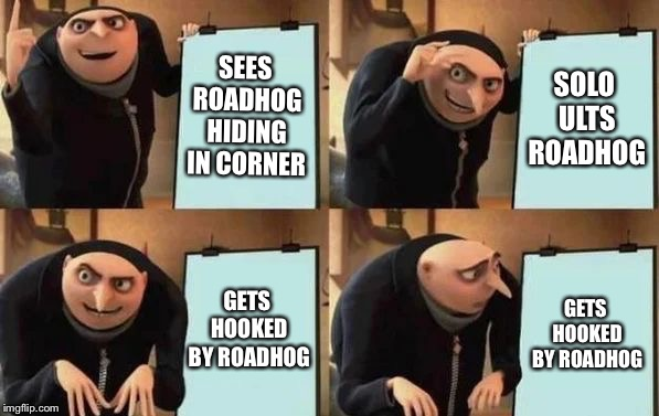 True story | SEES ROADHOG HIDING IN CORNER SOLO ULTS ROADHOG GETS HOOKED BY ROADHOG GETS HOOKED BY ROADHOG | image tagged in gru's plan,memes,overwatch,reaper,roadhog | made w/ Imgflip meme maker