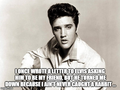 elvis birthday | I ONCE WROTE A LETTER TO ELVIS ASKING HIM TO BE MY FRIEND, BUT HE TURNED ME DOWN BECAUSE I AIN'T NEVER CAUGHT A RABBIT ... | image tagged in elvis birthday | made w/ Imgflip meme maker