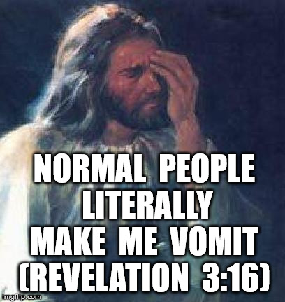 jesus facepalm | NORMAL  PEOPLE  LITERALLY  MAKE  ME  VOMIT  (REVELATION  3:16) | image tagged in jesus facepalm | made w/ Imgflip meme maker