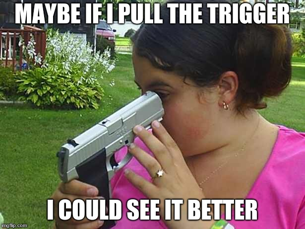 stupid |  MAYBE IF I PULL THE TRIGGER; I COULD SEE IT BETTER | image tagged in stupid | made w/ Imgflip meme maker