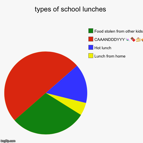 types of school lunches | Lunch from home , Hot lunch, CAAANDDDYYY | image tagged in funny,pie charts,food,school lunch,different,candy | made w/ Imgflip chart maker