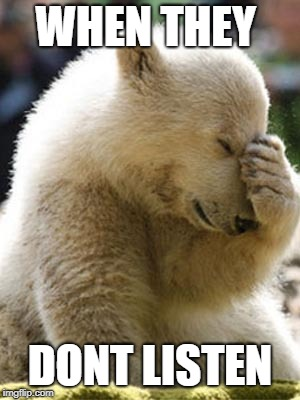 Facepalm Bear | WHEN THEY DONT LISTEN | image tagged in memes,facepalm bear | made w/ Imgflip meme maker