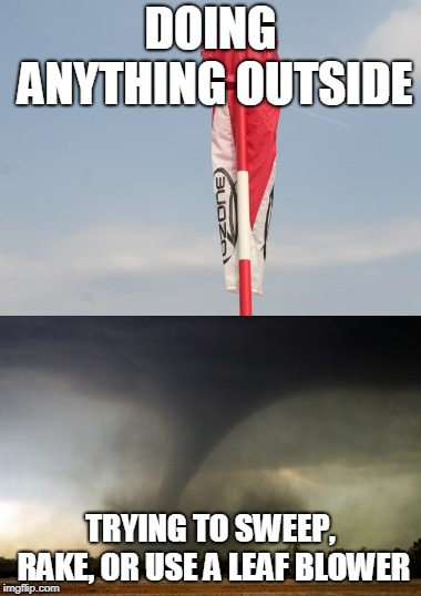 The Wind |  DOING ANYTHING OUTSIDE; TRYING TO SWEEP, RAKE, OR USE A LEAF BLOWER | image tagged in wind,wtf,first world problems | made w/ Imgflip meme maker