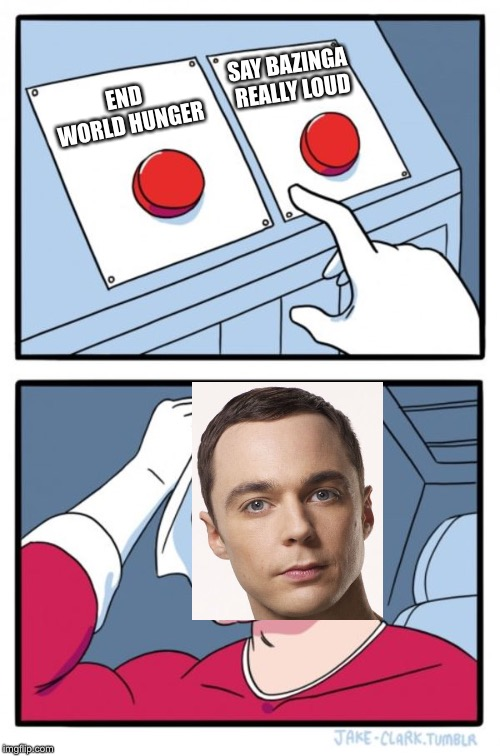 Two Buttons Meme | END WORLD HUNGER SAY BAZINGA REALLY LOUD | image tagged in memes,two buttons | made w/ Imgflip meme maker