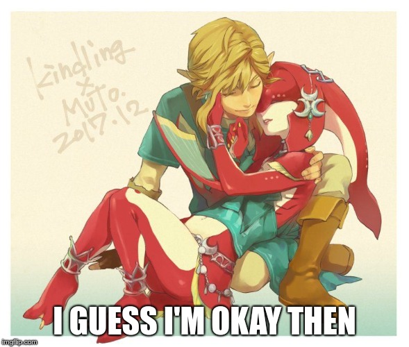 Link and Mipha | I GUESS I'M OKAY THEN | image tagged in link and mipha | made w/ Imgflip meme maker