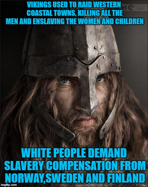 viking | VIKINGS USED TO RAID WESTERN COASTAL TOWNS, KILLING ALL THE MEN AND ENSLAVING THE WOMEN AND CHILDREN WHITE PEOPLE DEMAND SLAVERY COMPENSATIO | image tagged in viking | made w/ Imgflip meme maker